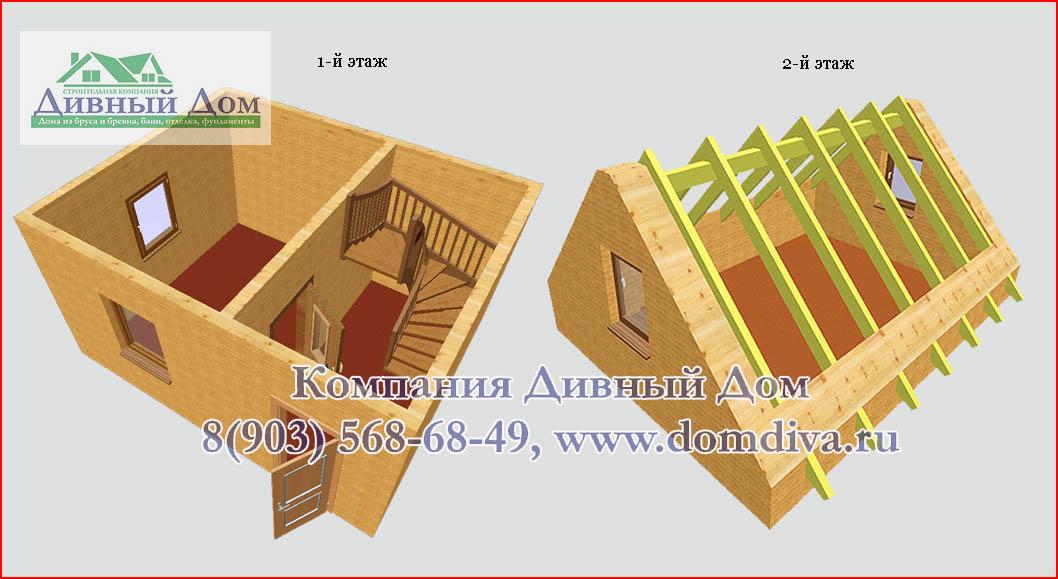 Дома и бани из Костромского леса Дачный дом 4х5м из бруса